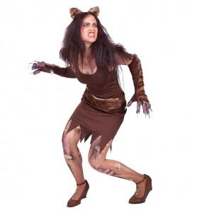 Fato de homem lobo mulher para a noite de Halloween