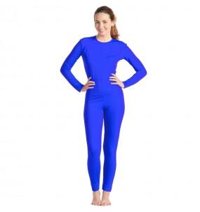 Fato de Maillot azul spandex para mulher