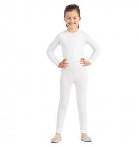 Fato de Maillot branco spandex para menina