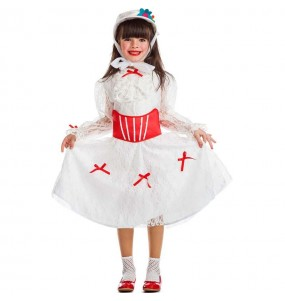 Disfarce Mary Poppins branca menina para que eles sejam com quem sempre sonharam