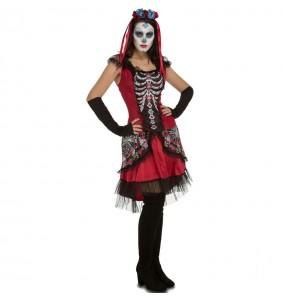 Fato de Catrina Mexicana dia dos mortos mulher para a noite de Halloween