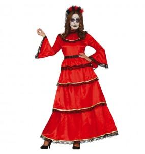 Fato de Catrina Vermelha mexicana para mulher
