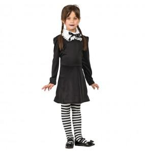Disfarce Halloween Wednesday Addams meninas para uma festa Halloween