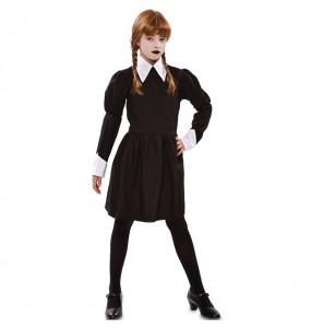 Fato de Wanda Addams tenebrosa para menina