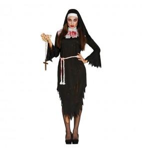 Fato de Freira zombie mulher para a noite de Halloween