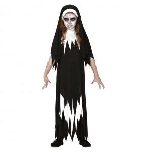 Disfarce Halloween Freira Valak meninas para uma festa Halloween