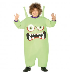 Disfarce Halloween Monstro verde inflável para meninos para uma festa do terror
