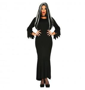 Fato de Mortícia Addams mulher para a noite de Halloween