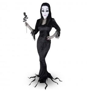 Fato de Mortícia Família Addams mulher para a noite de Halloween