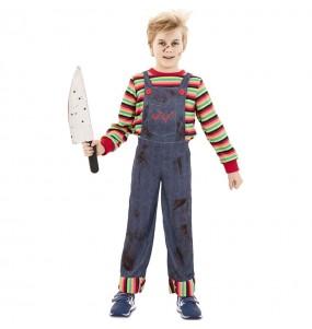 Disfarce Halloween Chucky o boneco assassino para meninos para uma festa do terror