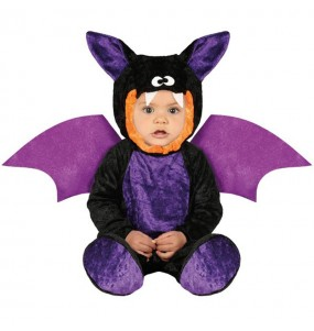 Disfarce Halloween Morcego roxa com que o teu bebé ficará divertido.
