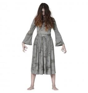 Fato de Fantasma The Ring mulher para a noite de Halloween