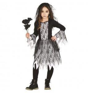 Fato de Noiva cadáver gótica para menina