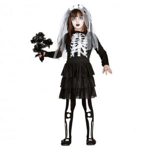 Fato de Noiva Esqueleto zombie para menina