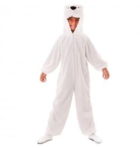 Disfarce Urso Polar de pelúcia menino para deixar voar a sua imaginação