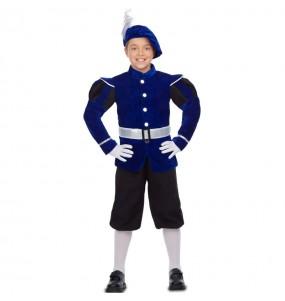 Fato de Pajem Rei Mago azul para menino