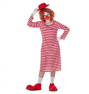 Disfarce original Palhaça listrada branco e vermelho mulher ao melhor preço