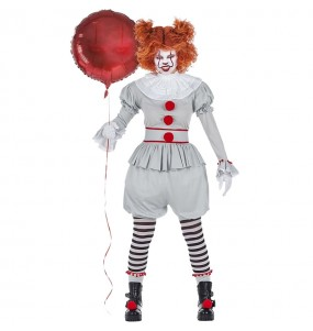 Fato de Palhaça It Pennywise mulher para a noite de Halloween