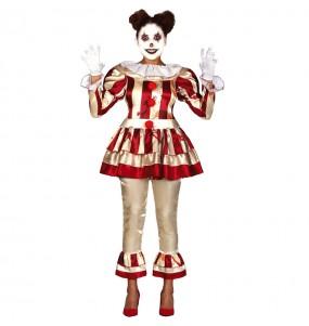 Fato de Palhaça perturbada mulher para a noite de Halloween