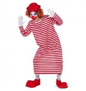 Disfarce Palhaço listrado branco e vermelho adulto divertidíssimo para qualquer ocasião