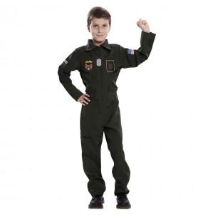 Disfarce Piloto de caça menino para deixar voar a sua imaginação
