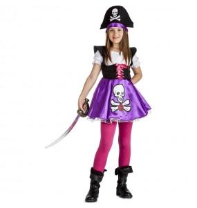 Fato de Pirata púrpura para menina