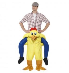 Disfarce Ride On Frango amarelo adulto divertidíssimo para qualquer ocasião