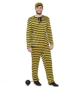 Fato de prisioneiro amarelo para homem