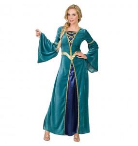 Disfarce original Princesa Medieval Verde mulher ao melhor preço