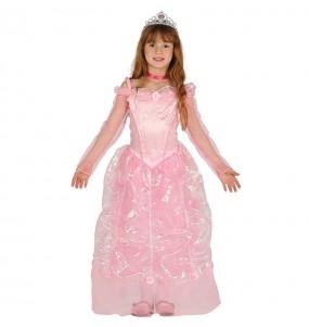 Disfarce princesa de conto de fadas rosa luxuosa menina para que eles sejam com quem sempre sonharam