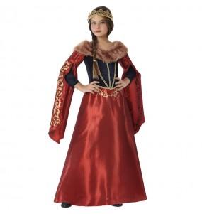 Disfarce Rainha Medieval Vermelha menina para que eles sejam com quem sempre sonharam