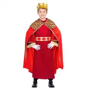 Fato de Rei Mago capa vermelha para menino