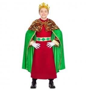 Fato de Rei Mago capa verde para menino