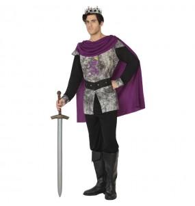 Fato de Rei medieval cinzento para homem