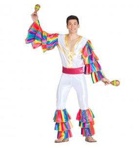 Disfarce Bailarino Rumba Branco adulto divertidíssimo para qualquer ocasião