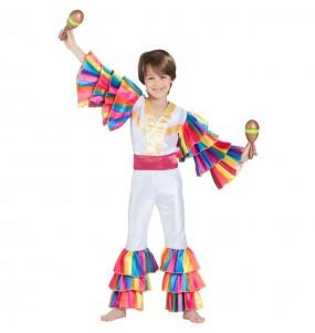 Disfarce Bailarino Rumba Branco menino para deixar voar a sua imaginação