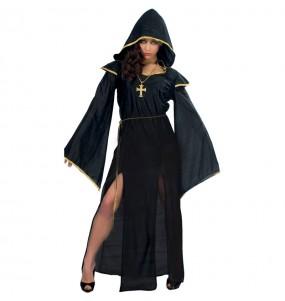 Fato de Sacerdotisa escura mulher para a noite de Halloween