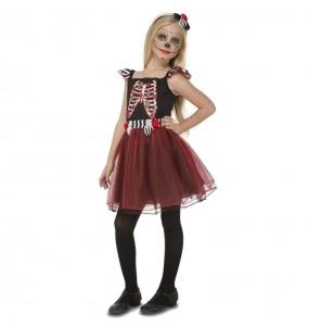 Disfarce Halloween Esqueleto vermelho e preto meninas para uma festa Halloween