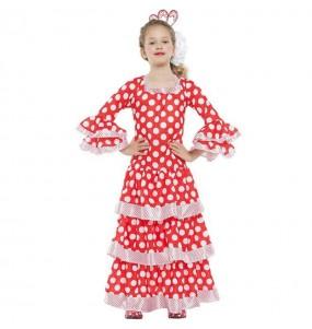 Fato de Flamenco vermelho com pontos brancos para menina