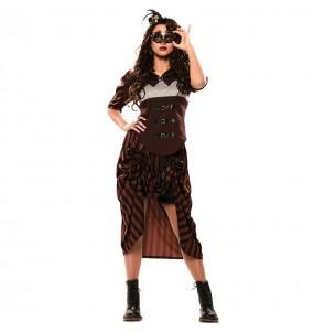 Fato de Steampunk gótica mulher para a noite de Halloween