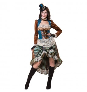 Fato de Aventureira Steampunk mulher para a noite de Halloween