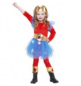 Disfarce Super Heroína Wonder Woman menina para que eles sejam com quem sempre sonharam