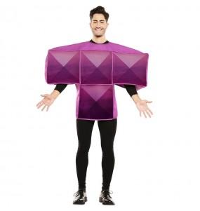 Disfarce Tetris roxo adulto divertidíssimo para qualquer ocasião
