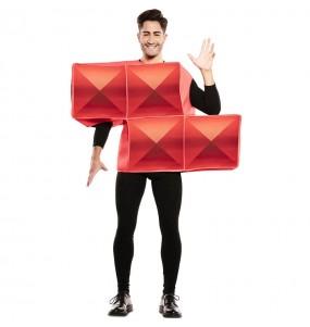 Disfarce Tetris vermelho adulto divertidíssimo para qualquer ocasião