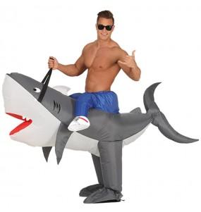 Disfarce Ride On Tubarão insuflável adulto divertidíssimo para qualquer ocasião