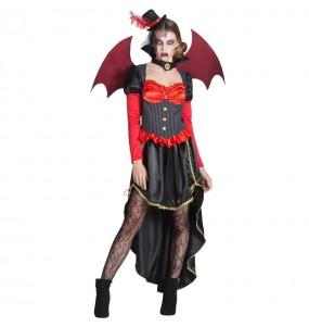 Fato de Vampiresa Vitoriana com asas mulher para a noite de Halloween