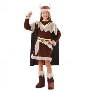 Fato de Viking Marrom para menina