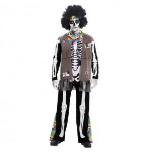 Fato de Esqueleto Hippie adulto para a noite de Halloween