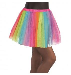 Disfarce Saia Tutu Multicolor menina para que eles sejam com quem sempre sonharam
