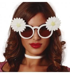 Os óculos mais engraçados brancos com margaridas para festas de fantasia